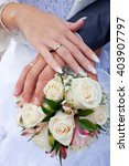 bride and groom hands with... | Shutterstock . vector #403907797