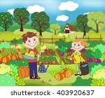 girl and boy in the autumn... | Shutterstock . vector #403920637