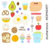 super cute set of breakfast... | Shutterstock .eps vector #403940497