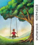kid playing on a swing in a... | Shutterstock . vector #403941613