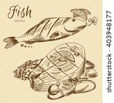 hand drawn fish  seafood | Shutterstock .eps vector #403948177