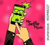 selfie phonein red. vector... | Shutterstock .eps vector #403988227