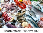 seafood on ice at the fish... | Shutterstock . vector #403995487