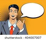 surprised man pointing finger... | Shutterstock .eps vector #404007007