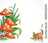 Red Amanita Mushrooms In The...