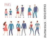 set of cartoon pairs in various ... | Shutterstock .eps vector #404145943