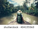 woman traveler with backpack... | Shutterstock . vector #404155363