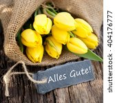 Small photo of Label with german text: All the best
