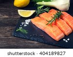 salmon filet sliced on three... | Shutterstock . vector #404189827