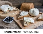homemade cheese on sliced bread ... | Shutterstock . vector #404223403