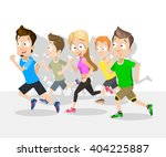 crowd of young people running.... | Shutterstock .eps vector #404225887