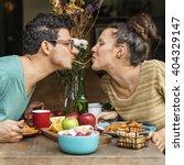 couple eating food feeding... | Shutterstock . vector #404329147