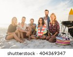 happy friends having fun near... | Shutterstock . vector #404369347