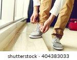 tying shoes. | Shutterstock . vector #404383033