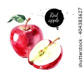 Watercolor Hand Drawn Red Appl...