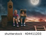 two little children playing... | Shutterstock . vector #404411203