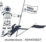 mars colonization. astronaut on ... | Shutterstock .eps vector #404455837