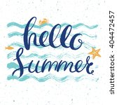 hello summer post card with lettering on blue wavy background | Shutterstock vector #404472457