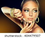 beautiful girl with the golden... | Shutterstock . vector #404479507