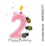 happy second birthday candle.... | Shutterstock .eps vector #404505277