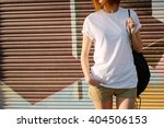 young girl with a backpack... | Shutterstock . vector #404506153