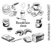 breakfast hand drawn set.... | Shutterstock . vector #404506357