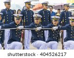 Small photo of Bangkok,Thailand - 10 January 2016 : The air cadet show Sword drill and Fancy drill to Children at Don muang