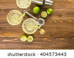 classic lime margaritas on the... | Shutterstock . vector #404573443
