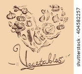 hand drawn vegetables set with...