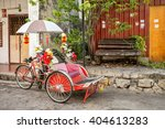 an old rickety trishaw cab...   Shutterstock . vector #404613283