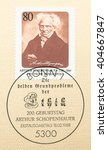 Small photo of ST. PETERSBURG, RUSSIA - APR 12, 2016: A postmark printed in Germany, shows portrait of Arthur Schopenhauer (1788-1860), philosopher, and Title The two fundamental problems of ethics, circa 1988