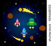 space icons set. pixel art. old ... | Shutterstock .eps vector #404668033