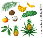 Set Of Tropical Fruits And...