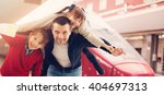 happy family at a train station | Shutterstock . vector #404697313
