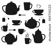 vector set of black tea pots... | Shutterstock .eps vector #404743123