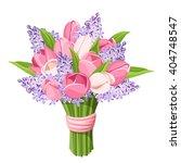 Vector Bouquet Of Pink Tulips...
