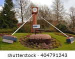 Small photo of PERTH, SCOTLAND - 10 APRIL 2016: Dewar's Corner marks the site of the old Dewar's whisky distillery and celebrates the curling ice rik built in its place which bears its name.