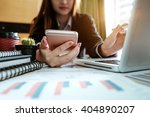 business woman hand working and ... | Shutterstock . vector #404890207