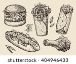fast food. hand drawn hamburger ... | Shutterstock .eps vector #404946433