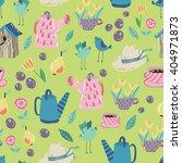 spring garden seamless vector... | Shutterstock .eps vector #404971873