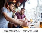 three amazed shocked handsome... | Shutterstock . vector #404991883