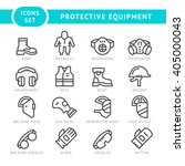 set line icons of protecting... | Shutterstock .eps vector #405000043