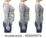three stages of slimming woman...   Shutterstock . vector #405009073