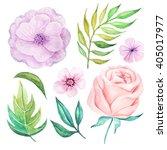 set of hand painted watercolor... | Shutterstock . vector #405017977