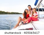 beautiful happy family with two ... | Shutterstock . vector #405065617