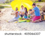 friends sitting on the sand at... | Shutterstock . vector #405066337