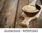 Rice Grains In A Spoon On A...