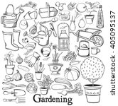 gardening line icon drawing... | Shutterstock .eps vector #405095137