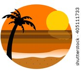 sea dyed to sunset | Shutterstock . vector #405111733