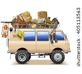 vector travel car with safari... | Shutterstock .eps vector #405113563